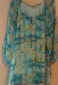 One World plaid and floral sheer blouse